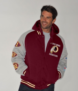 Washington Redskins NFL Defender Super Bowl Commemorative Detachable Hooded Jacket