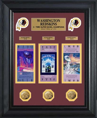 Washington Redskins Washington Redskins Super Bowl Ticket and Game Coin Collectible Frame