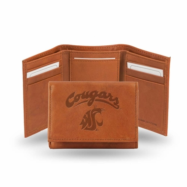 Washington State Embossed Leather Trifold Wallet