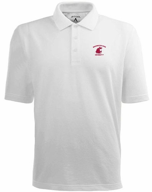 Washington State Mens Pique Xtra Lite Polo Shirt (Color: White)
