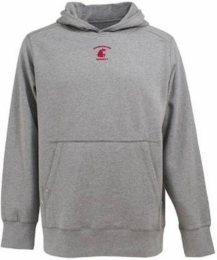 Washington State Mens Signature Hooded Sweatshirt (Color: Silver)