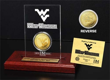 West Virginia Mountaineers West Virginia University 24KT Gold Coin Etched Acrylic