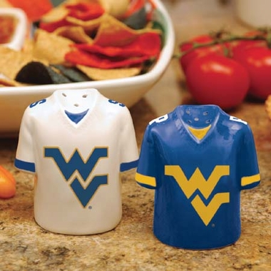 West Virginia Ceramic Jersey Salt and Pepper Shakers