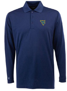 West Virginia Mens Long Sleeve Polo Shirt (Color: Navy) - Large