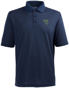 West Virginia Mens Pique Xtra Lite Polo Shirt (Color: Navy) - Large