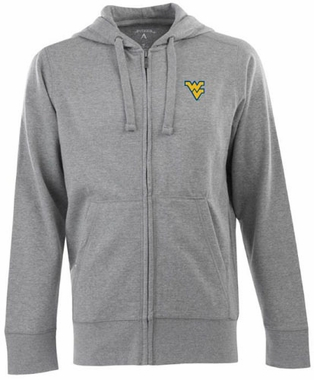 West Virginia Mens Signature Full Zip Hooded Sweatshirt (Color: Gray)