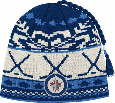 Winnipeg Jets Jacquard Pattern Hocky Stick Tassel Cuffless Knit Hat
