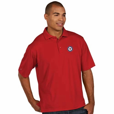 Winnipeg Jets Mens Pique Xtra Lite Polo Shirt (Color: Red)