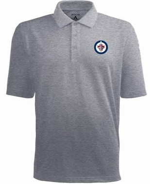 Winnipeg Jets Mens Pique Xtra Lite Polo Shirt (Color: Gray)