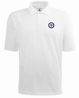 Winnipeg Jets Mens Pique Xtra Lite Polo Shirt (Color: White)