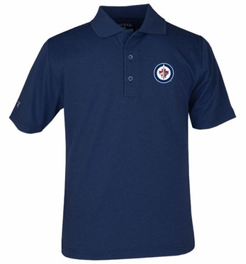 Winnipeg Jets YOUTH Unisex Pique Polo Shirt (Color: Navy)