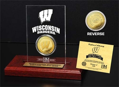 Wisconsin Badgers University of Wisconsin 24KT Gold Coin Etched Acrylic