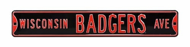 Wisconsin Badgers Ave Black Street Sign