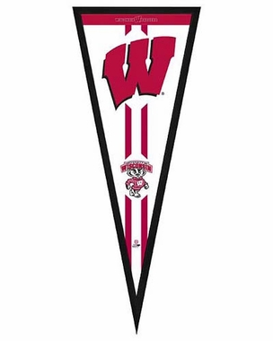 """Wisconsin Badgers Pennant Frame - 13""""x33"""" (No Glass)"""