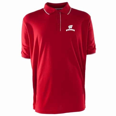 Wisconsin Mens Elite Polo Shirt (Color: Red)