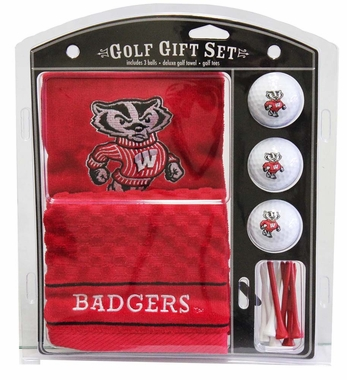 Wisconsin Embroidered Towel Golf Gift Set