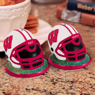 Wisconsin Helmet Ceramic Salt and Pepper Shakers