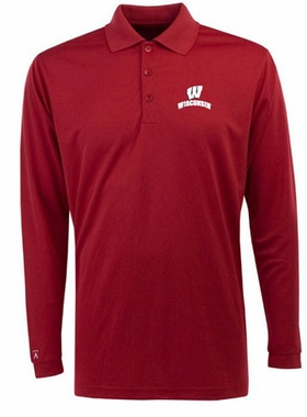 Wisconsin Mens Long Sleeve Polo Shirt (Color: Red)