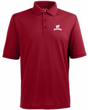 Wisconsin Mens Pique Xtra Lite Polo Shirt (Color: Red)