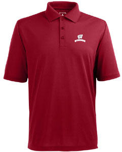 Wisconsin Mens Pique Xtra Lite Polo Shirt (Color: Red) - Large