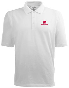 Wisconsin Mens Pique Xtra Lite Polo Shirt (Color: White) - Small