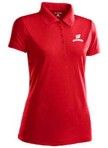 Wisconsin Womens Pique Xtra Lite Polo Shirt (Color: Red) - X-Large