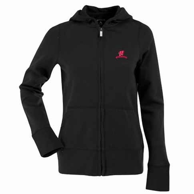 Wisconsin Womens Zip Front Hoody Sweatshirt (Color: Black)