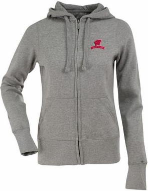 Wisconsin Womens Zip Front Hoody Sweatshirt (Color: Silver)