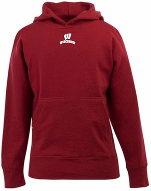 Wisconsin YOUTH Boys Signature Hooded Sweatshirt (Color: Red)