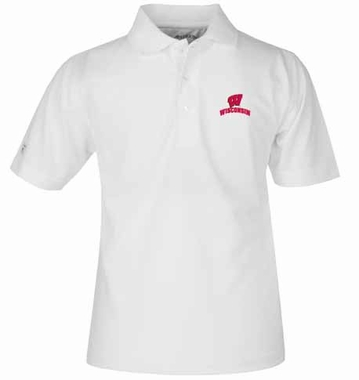 Wisconsin YOUTH Unisex Pique Polo Shirt (Color: White)