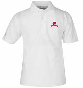 Wisconsin YOUTH Unisex Pique Polo Shirt (Color: White) - X-Large