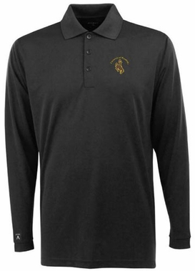 Wyoming Mens Long Sleeve Polo Shirt (Color: Black)