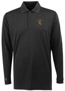 Wyoming Mens Long Sleeve Polo Shirt (Color: Black) - Large