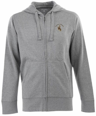 Wyoming Mens Signature Full Zip Hooded Sweatshirt (Color: Silver)