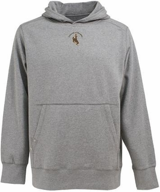 Wyoming Mens Signature Hooded Sweatshirt (Color: Silver)