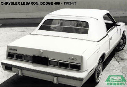 1982-1983 Chrysler Lebaron, Dodge 600 Convertible Top
