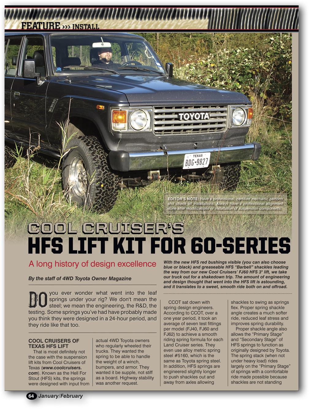 Hfs 25 Lift On 33 Tires Toyota Land Cruiser Kit 4wd Owner Magazine Fj62 Issue 2015 Page 1 Of 3