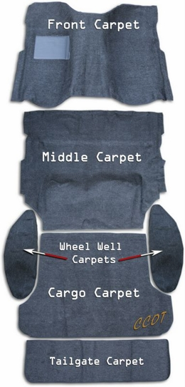 Carpet Kit - Aussi -  MOLDED - 6 PCE Carpet Set - FJ80 - '90 -'97
