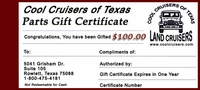 CCOT Gift Certificate - $100