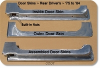 Door Skins, Rear Driver's, Lwr. Cross-Cut w/Latch Box ~ 1 ea.
