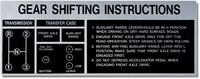 Gear Shift Instructions - 3 Speed - Vacuum Shift  - Decal