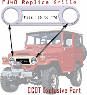 Grille Bezel - Powder Coated -  FJ & BJ Series  - '58 - '78