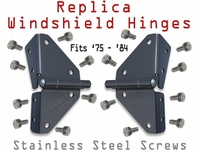 Hinge - Windshield - Pair w/screws - '75 - '84
