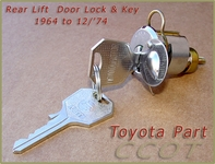 Lock & Key,  Rear Lift  Door, FJ/BJ/40  ~ 1964 to 12/'74  ~ TOYOTA