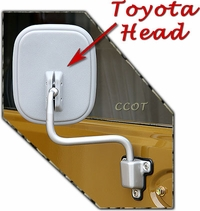 Mirror Door - FJ40 77-84- 1ea- Gray Head - Flat Glass- TOYOTA