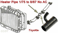 Pipe - Heater - Radiator - no/AC - 1/75-8/87 - TOYOTA