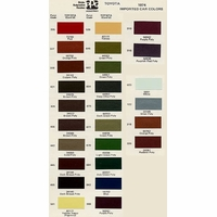 Toyota PPG Color Code Book Sheets - 1974