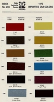 Toyota PPG Color Code Book Sheets - 1975