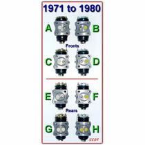 Wheel Cylinder Picture Guide '71 to '80