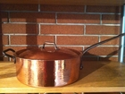"SOLD OUT   X-Large Hammered Copper Saute Pan  28cm / 11.25"" Dia - 6 quarts INCLUDES  LID"